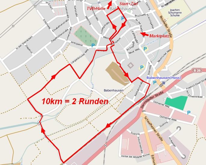 Strecke Hauptlauf (2 Runden) und Walking (1 Runde)